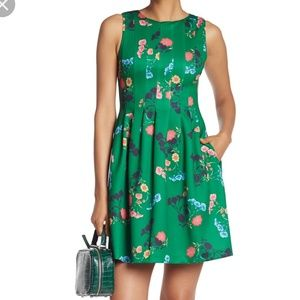 Vince Camuto Floral Fit and Flare Green Dress 6